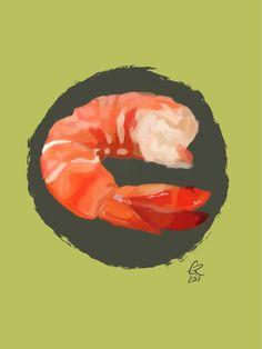 Digital painting , shrimp