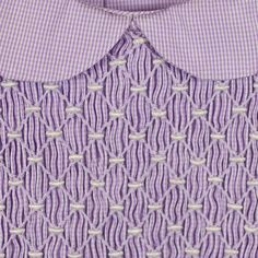Purple check baby dress with white SMOCKING Smocking Baby, Smocking Plates, Smocking Patterns, Sewing Patterns, Embroidery Monogram, Hand Embroidery, Punto Smok, Fabric Manipulation Techniques, Smocking Tutorial