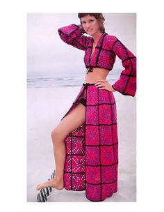 Vintage 1970s Bell Sleeve Boho Midriff Crop Top & Skirt Pattern