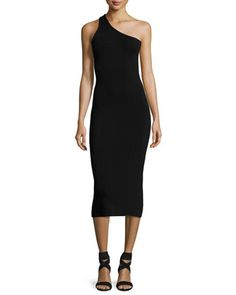 Theo+One-Shoulder+Fitted+Midi+Dress+by+A.L.C.+at+Neiman+Marcus.