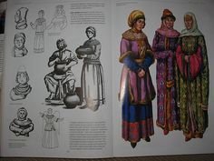 Kievan Rus ladies ca 1100 - 1300 e:kr Historical Costume, Historical Clothing, 11th Century, Historical Images, Medieval Clothing, Ancient History, Mythology, Vikings, Religion