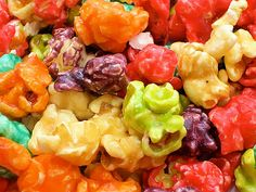 Easy 2 ingredient DIY candied popcorn using jello mix and condensed milk...cheap and easy school treat