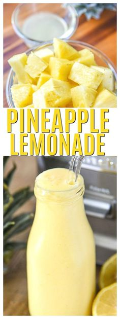 This frosty Pineapple Lemonade Recipe Homemade is perfection! Make it if you need a refreshing drink or homemade drink recipes nonalcoholic for kids it's a healthy summer beverage. via healthy drinks Pineapple Lemonade Smoothie Drinks, Healthy Smoothies, Healthy Snacks, Healthy Recipes, Pineapple Recipes Healthy, Healthy Drinks For Kids, Homemade Smoothies, Cheap Recipes, Healthy Juices