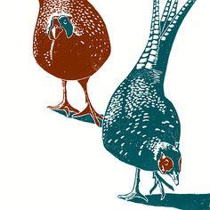 Pheasants A3 poster print from a linocut by jamesgreenprintworks