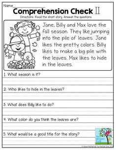 Printables Reading Comprehension For Grade 1 With Questions reading comprehension checks read the short passage and highlight simple story answer questions tons of great printables to help with grade l