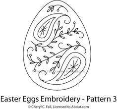 Easter Egg 4-Piece Embroidery Pattern Set: Egg Pattern 3