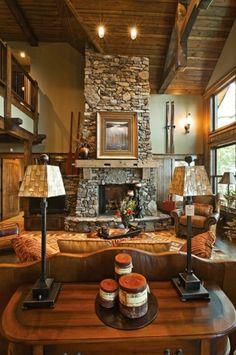 steinwand wohnzimmer rustikale wohnzimmermöbel aus holz                                                                                                                                                                                 Mehr