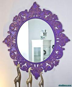 Mor Renkli Salon Aynası