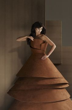 Haute couture dress by Isabelle de Borchgrave, made of wallcovering
