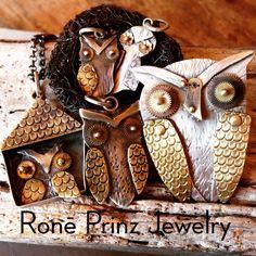 New Owl family for the Wild Arts Fest #wildartsfestival2017 #roneprinzjewelry #roneprinzstudio #jeweleryoninstagram #jewelryonetsy #owljewelry