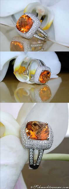 Madeira Citrine Diamond Ring | Grandioser Madeira Citrin Ring mit Brillanten | 7,19 ct. WG 18K - schmucktraeume.com Like: https://www.facebook.com/pages/Noble-Juwelen/150871984924926