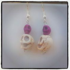 White and Purple Skull Earrings $6 Aust. From Rags To Bags on FaceBook.