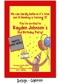 vintage curious george birthday invites- or We hope you can join the fun, our little monkey is turning ONE!