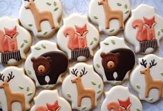 Elegant Woodland Animal Cookies with Red Fox- One Dozen Decorated Sugar Cookies Fall Cookies, Christmas Sugar Cookies, Spice Cookies, Cut Out Cookies, Yummy Cookies, Cookie Bars, Valentines Food, Valentine Recipes, Cupcakes