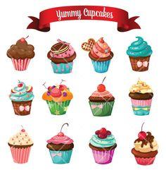 Yummy Delicious Cupcake Cake Muffins Digital Clip by digitallove1
