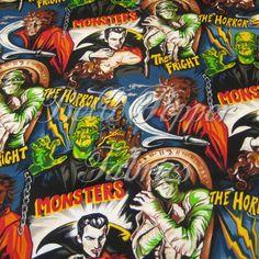 Robert Kaufman Horror Movie Fabric 1 yard by bellepepper on Etsy, $11.00