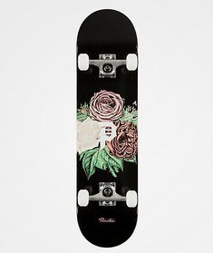 Start your skate career off strong with the Primitive Dirty P Bloom Skateboard Complete. This pre-assembled complete features Primitive brand wheels for quick acceleration and controllable grip, while simultaneously offering high end flat Custom Skateboards, Cruiser Skateboards, Complete Skateboards, Cool Skateboards, Where To Buy Skateboards, Skateboards For Girls, Skateboard Deck Art, Skateboard Parts, Skateboard Design