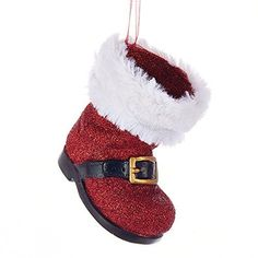 Glittered Plastic Santa Boot Ornament, Red, 3-1/2-Inch