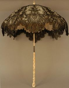 "hoopskirtsociety: "" FOLDING CHANTILLY LACE PARASOL CARVED IVORY HANDLE, 1870' """