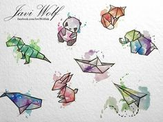 Javi wolf art projects w 2019 watercolor art, art drawings i watercolor pai Origami Tattoo, Origami Cat, Origami Ideas, Origami Design, Geometric Drawing, Geometric Art, Javi Wolf, Dinosaur Tattoos, Origami Architecture