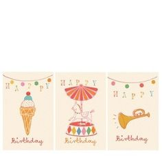 Maileg Happy Birthday Icecream Carousel Trumpet Card - A Stationery and Craft Emporium - le petit paperie