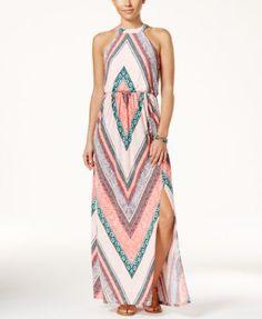 Trixxi Juniors' Printed Side-Slit Maxi Dress | macys.com