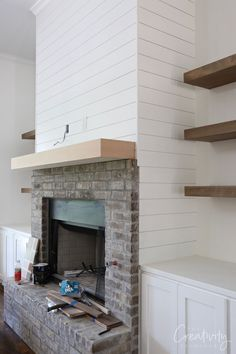 Client Project Sneak Peek: Splurging and Saving Fireplace Built Ins, Brick Fireplace Makeover, Shiplap Fireplace, Home Fireplace, Fireplace Remodel, Living Room With Fireplace, Fireplace Design, Rustic Fireplaces, Fireplace Ideas