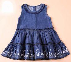 NWT Denim Blue Jean Sleeveless Toddler Girl Dress 1-5 years