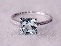 Aquamarine and white gold engagement ring