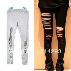 Negro, gris ripped sexy tramo slash corte a cabo desgarrado punk intersect correas leggings pantalones de envío gratis 5319