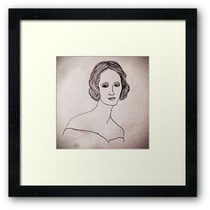 Halloween decor framed picture of Mary Shelley author of Frankenstein