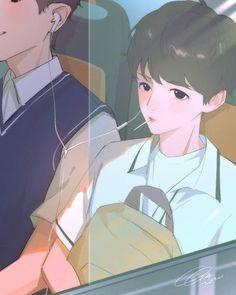 Chanbaek Fanart, Baekhyun Fanart, Exo Chanbaek, Kyungsoo, Chanyeol, Exo Anime, Yuri, Ship Drawing, Exo Fan Art