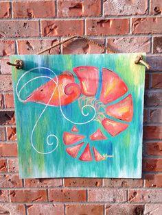 "24""x24"" shrimp on wood wall art"