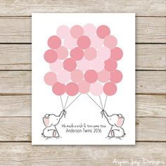 I customize the type for you so please let me know in a message with your order what you want the guestbook to say (both babys first name or surname or just Welcome little One) and be sure to choose circles, balloons, or just strings at checkout. ► ► ► ► ► ► ► ♥ Pink Elephant Balloon Customized Guest Book for Baby Shower Birthday This Elephant Baby Shower Guest Book is a great alternative to the standard guest book and sooooooo much cuter! Ask each guest to sign a balloon/circle when they fir...