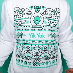 Holiday mode: engaged. Follow @yikyakapp on Twitter for info on how to look sweet as hell at your tacky holiday sweater party. #uglysweater #print #appareldesign