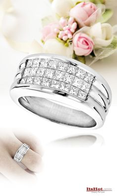 This absolutely luxurious Men's Platinum Diamond Band with top quality invisible set princess cut diamonds makes a classy wedding band and also a great Pinky Ring.