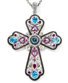 Dallas Prince 11 38 Ct Multi Gemstone Enhancer Cross Pendant with Chain