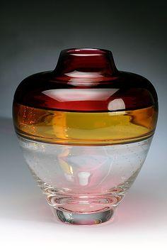 """Horizon Incalmo Vase 3""  Art Glass Vessel  Created by David Russell"