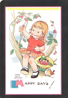 Mabel Lucie Attwell Unused Postcard Cute fantasy Vintage with fruit artist signed in very good condition No.5834