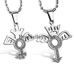 2 Edelstahl Krone Engelsflügel Partneranhänger Kettenanhänger Halsketten Ketten