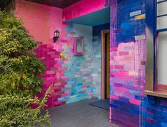 Murals — Camille Javal Vibrant abstract exterior mural that covers a residential home with a bright color palette of mostly pink, blue and metallic. Pops of color highlight the b Home Interior Design, Exterior Design, Interior And Exterior, Stucco Exterior, Interior Colors, Brick Wall Background, Indian Home Decor, Home Decor Furniture, House Design