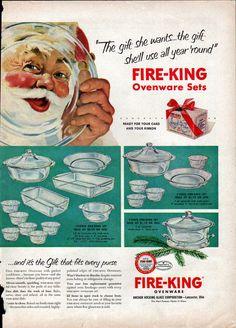Fire King Ovenware Ad 1952   Holiday Santa