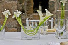 Jeff Leatham style; white calla's and iris