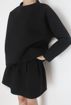 Minimal + Chic | @codeplusform black sweater and skirt #minimalist #fashion #style