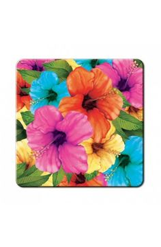 Pack of 8 Hibiscus Coaster - Tropical Party Tableware Decorations