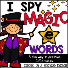 "I Spy Magic E words - These are such fun word work and homework activities! Great for cvce literacy centers! Students  use a magnifying glass  to find the ten hidden CVCe or ""Magic E"" words in each ""magic"" picture. 