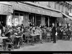 #Paris #Cafe outside Black and White photos- everyone looks like they are having a good time.
