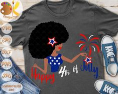 Black Woman 4th of July SVG African American Woman SVG | Etsy Happy 4 Of July, 4th Of July, Teen Trends, Woman Illustration, Friend Outfits, African American Women, Black Girl Magic, Black Women, Style Inspiration