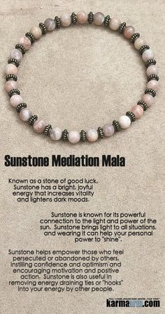 Sunstone is a great  Sunstone is a great stone for the Base, Sacral and Solar Plexus Chakras, but can clear and energize all Chakras. It was used by the Canadian Indians in medicine wheel rituals, by the ancient Greeks to represent the Sun Gods, and in ancient India for protection from dark forces from other realms.  ..…..Beaded Bracelet. Yoga Chakra Charm Mala Stretch Meditation Jewelry. Energy Healing Crystals Stacks… pulseiras Bijoux….Handmade Reiki Mala…Tibetan Buddhist. Mens Wo..