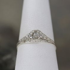 Antique Style Raw Diamond Engagement Ring Rough by ASecondTime
